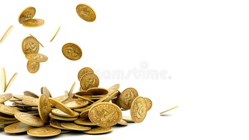 Monedas de oro que caen aisladas libre illustration
