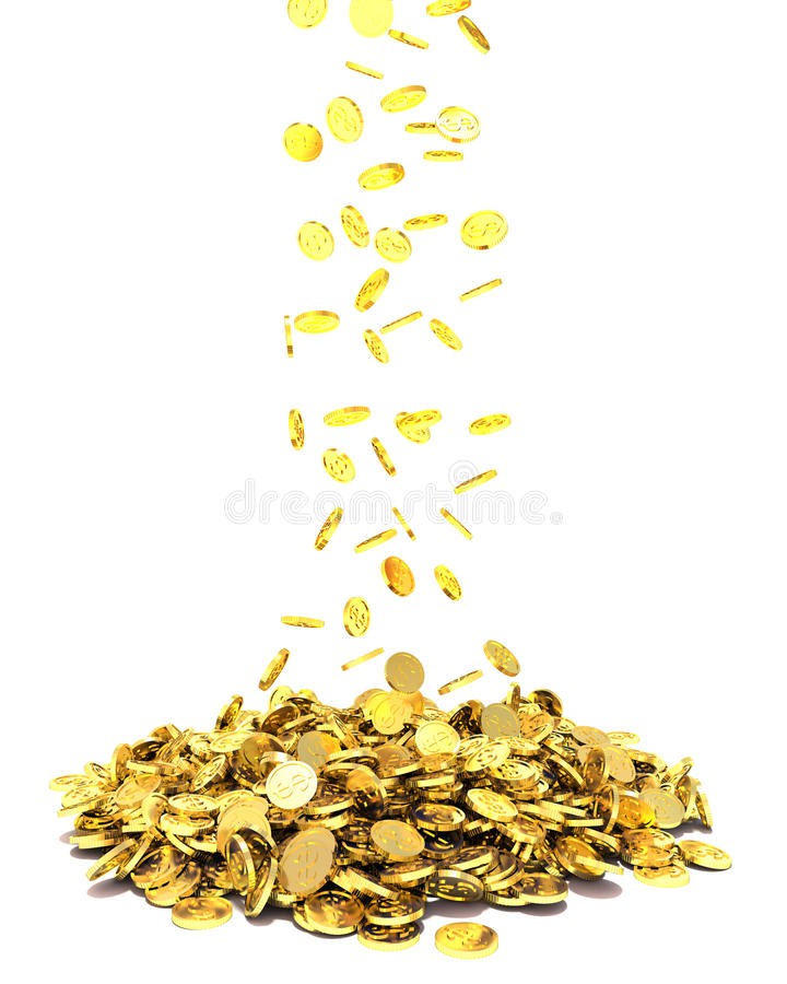 Monedas de oro que caen aisladas en el fondo blanco ilustración del vector