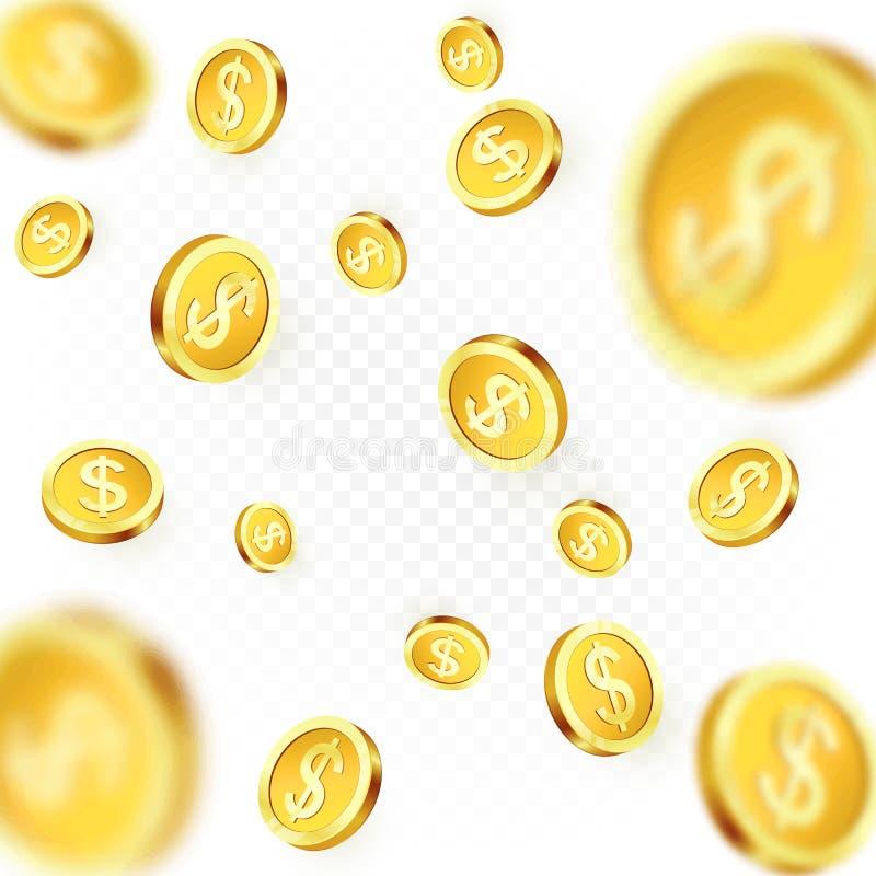 Monedas de oro que caen aisladas en fondo transparente Lluvia brillante del dólar del metal Triunfo del bote del casino Ilustraci stock de ilustración