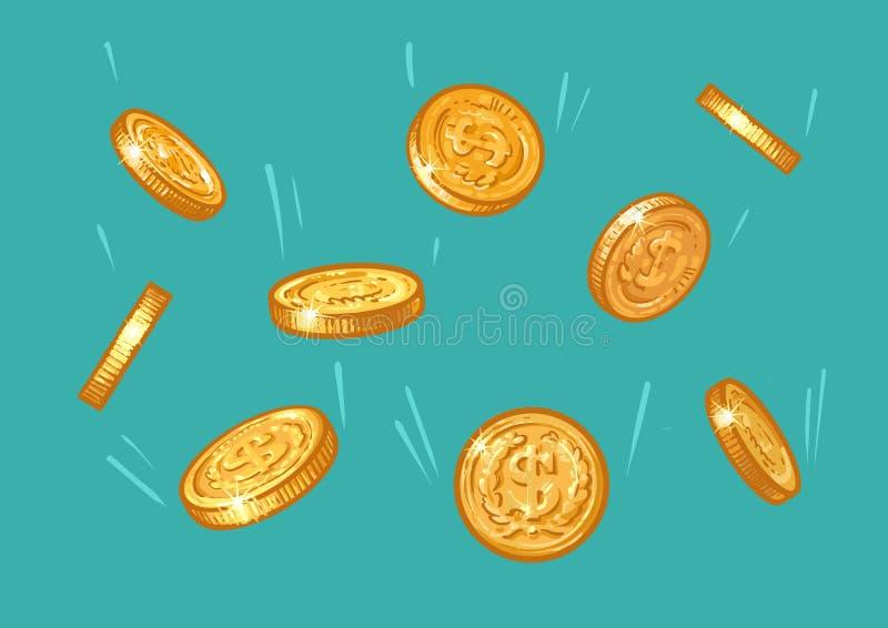 Monedas de oro que caen del cielo azul Bosquejo del dinero con la muestra de dólar que vuela abajo Concepto del tesoro Historieta ilustración del vector