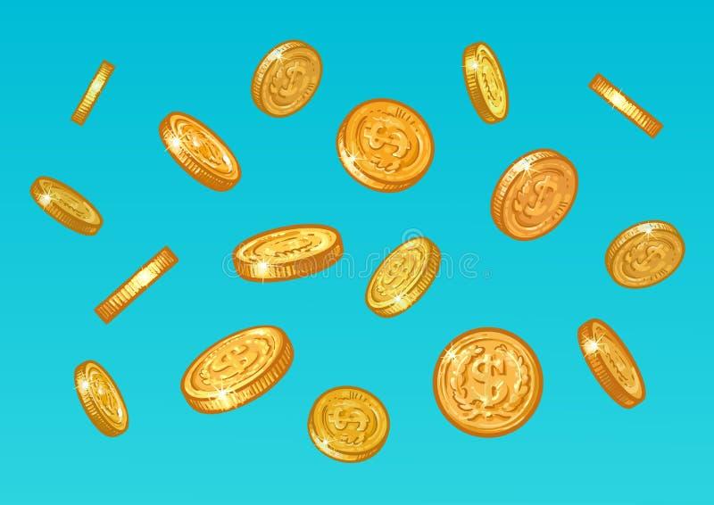 Monedas de oro que caen del cielo azul Bosquejo del dinero con la muestra de dólar que vuela abajo Concepto del tesoro Historieta stock de ilustración