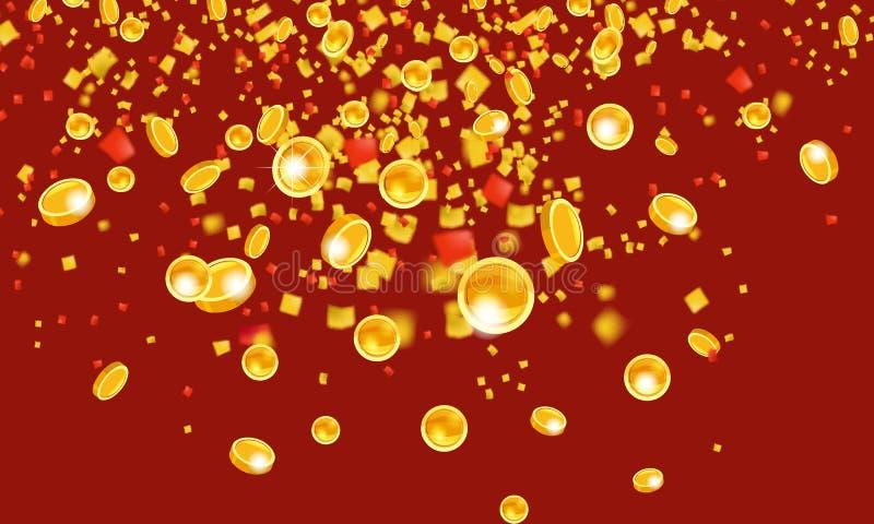 Monedas de oro que vuelan que caen con el dinero de la malla de la lluvia de oro superior En un fondo rojo Concepto del bote o de libre illustration
