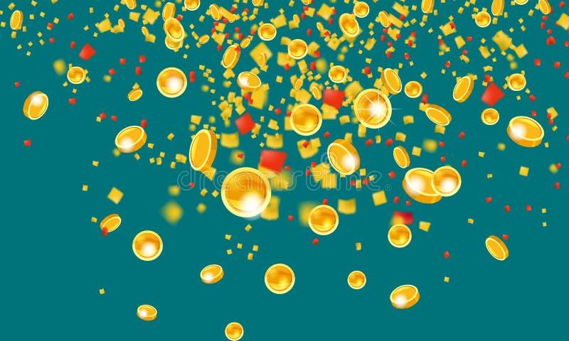 Monedas de oro que vuelan que caen con el dinero de la malla de la lluvia de oro superior En un fondo verde Concepto del bote o d stock de ilustración