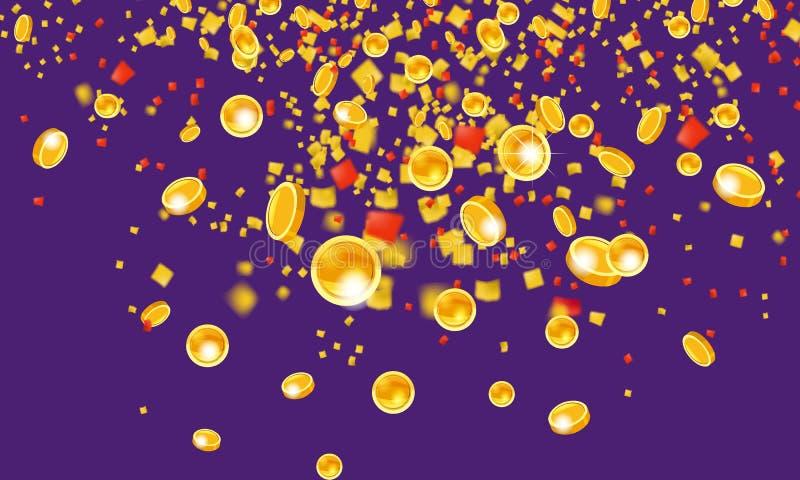 Monedas de oro que vuelan que caen con el dinero de la malla de la lluvia de oro superior En un fondo violeta Concepto del bote o libre illustration