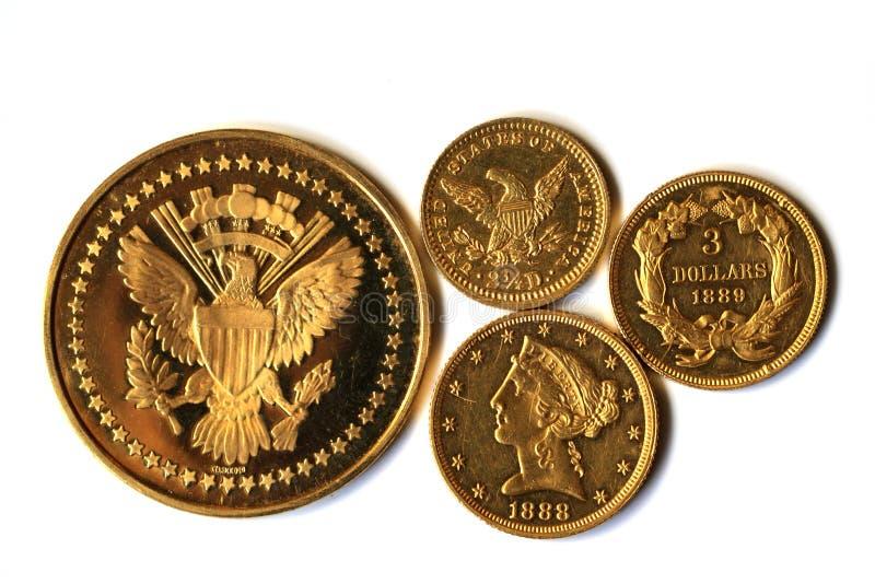 Monedas de oro viejo de América foto de archivo