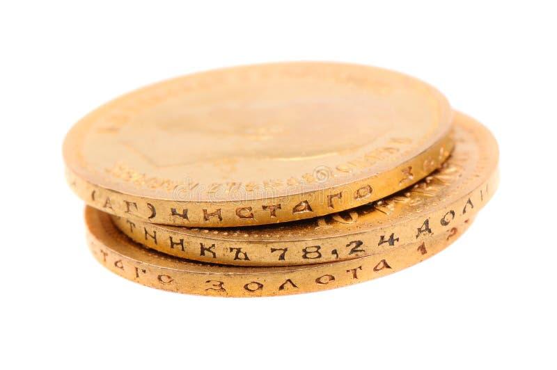 Monedas de oro viejo de Rusia imágenes de archivo libres de regalías