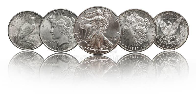 Monedas de plata águila de plata, Morgan y dólar de Estados Unidos de la paz fotografía de archivo