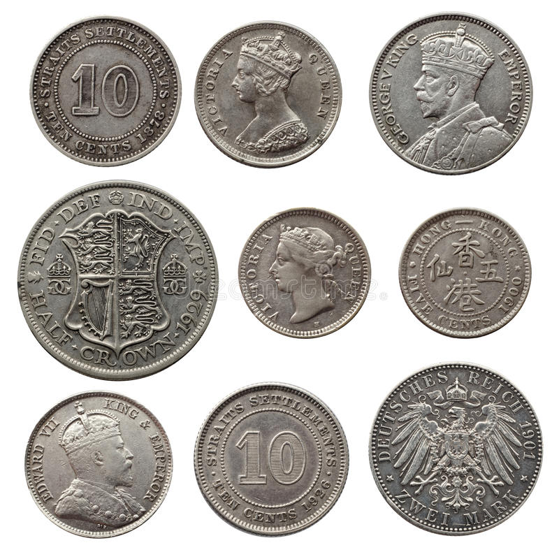 Monedas de plata antiguas foto de archivo