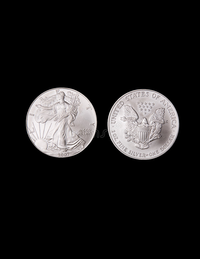 Monedas de plata de la libertad imagenes de archivo