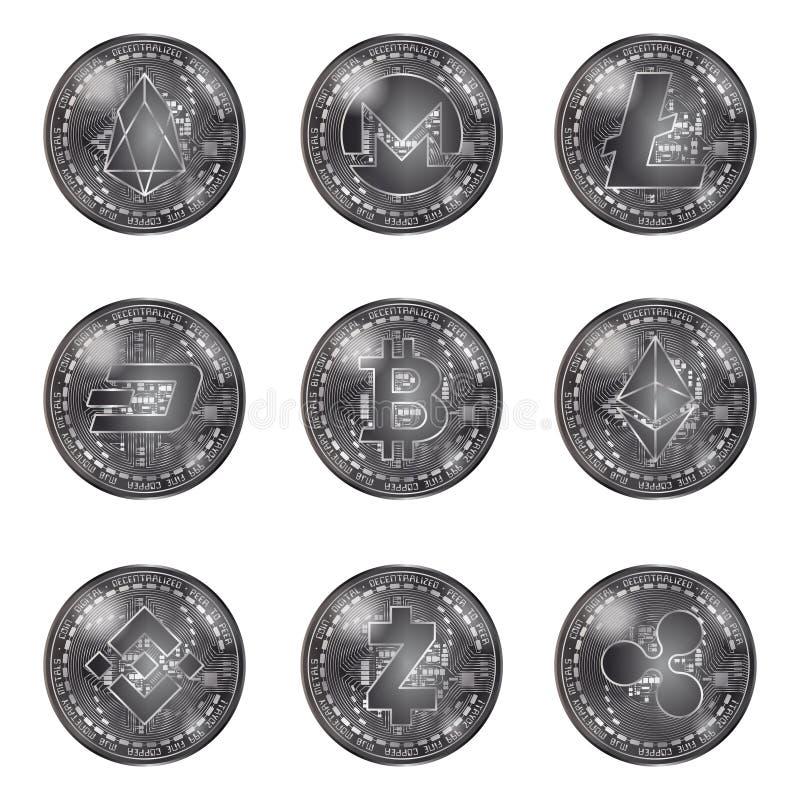 Monedas de plata del cryptocurrency fijadas ilustración del vector