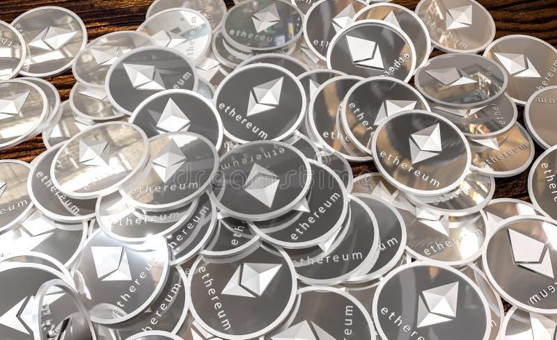 Monedas de plata de Ethereum, concepto de Blockchain representación 3d fotos de archivo