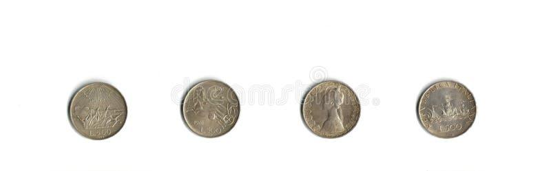 Monedas de plata italianas imágenes de archivo libres de regalías