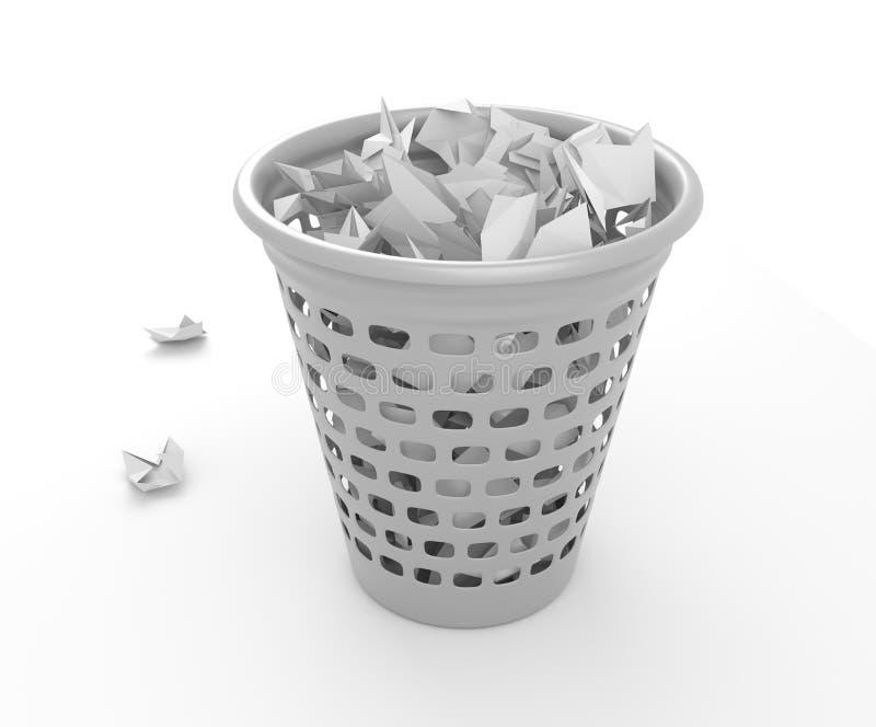 Monedas de reciclaje para basura de oficina imagenes de archivo