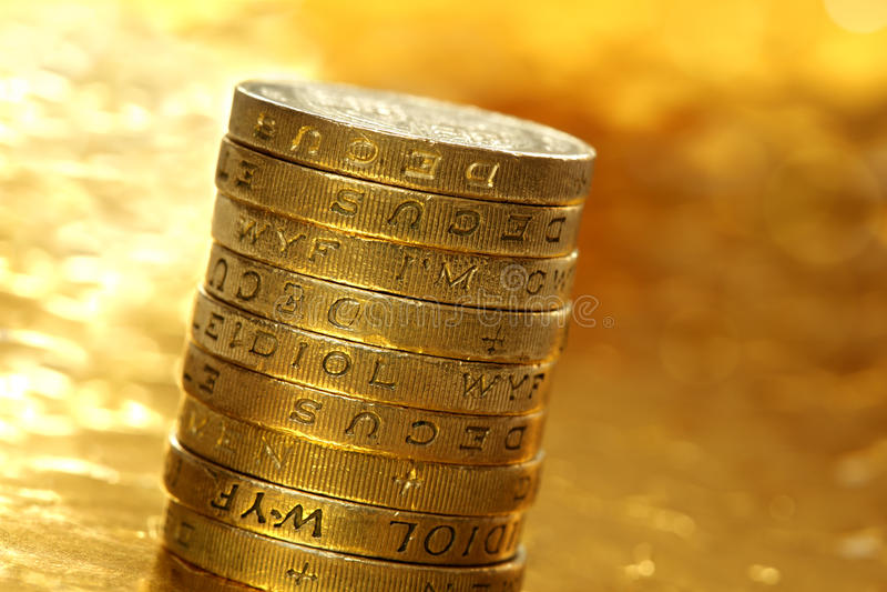 Monedas de una libra fotos de archivo