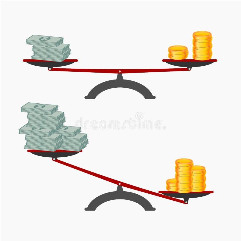 monedas del billete de banco y de oro en las escalas, depositando intercambio stock de ilustración
