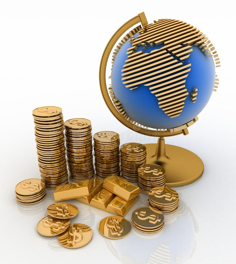 Monedas del globo del oro y de oro stock de ilustración