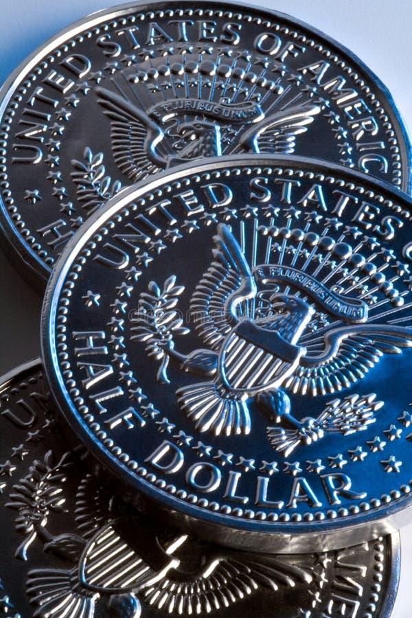 Monedas del medio dólar de los E.E.U.U. fotos de archivo libres de regalías