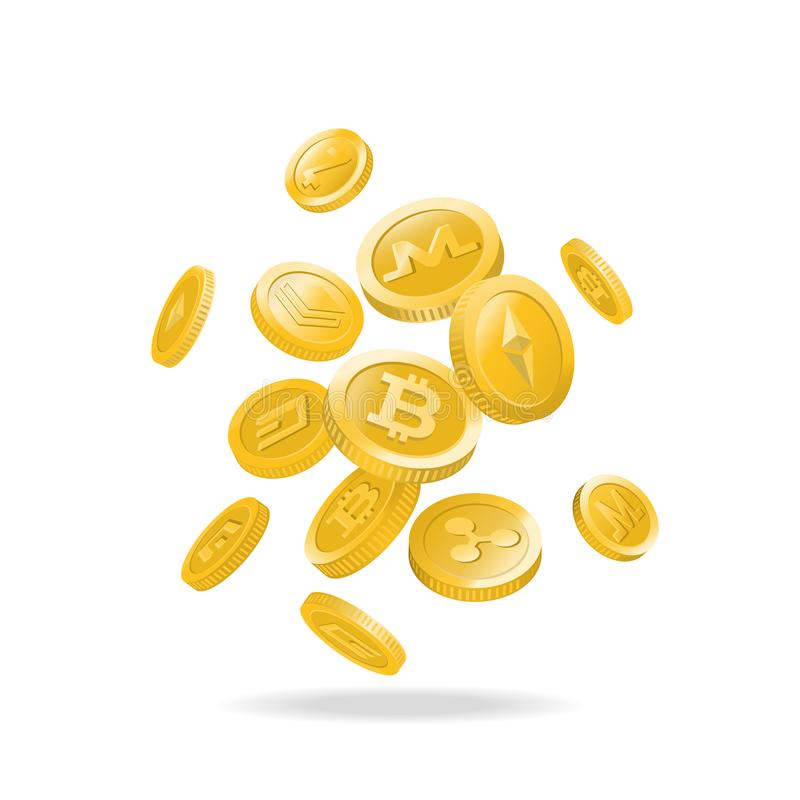 Monedas digitales del cryptocurrency del oro stock de ilustración