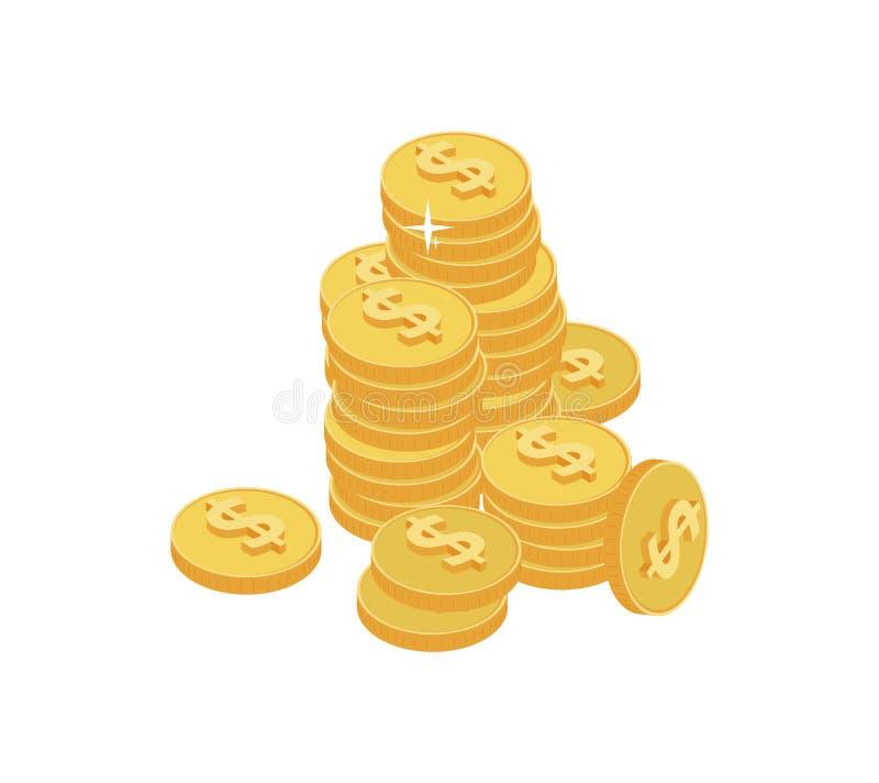 monedas Dinero isom?trico del vector ilustración del vector