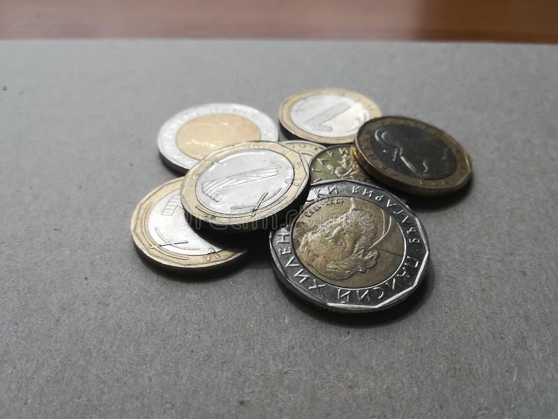 Monedas, dinero, transacción, ahorros fotos de archivo