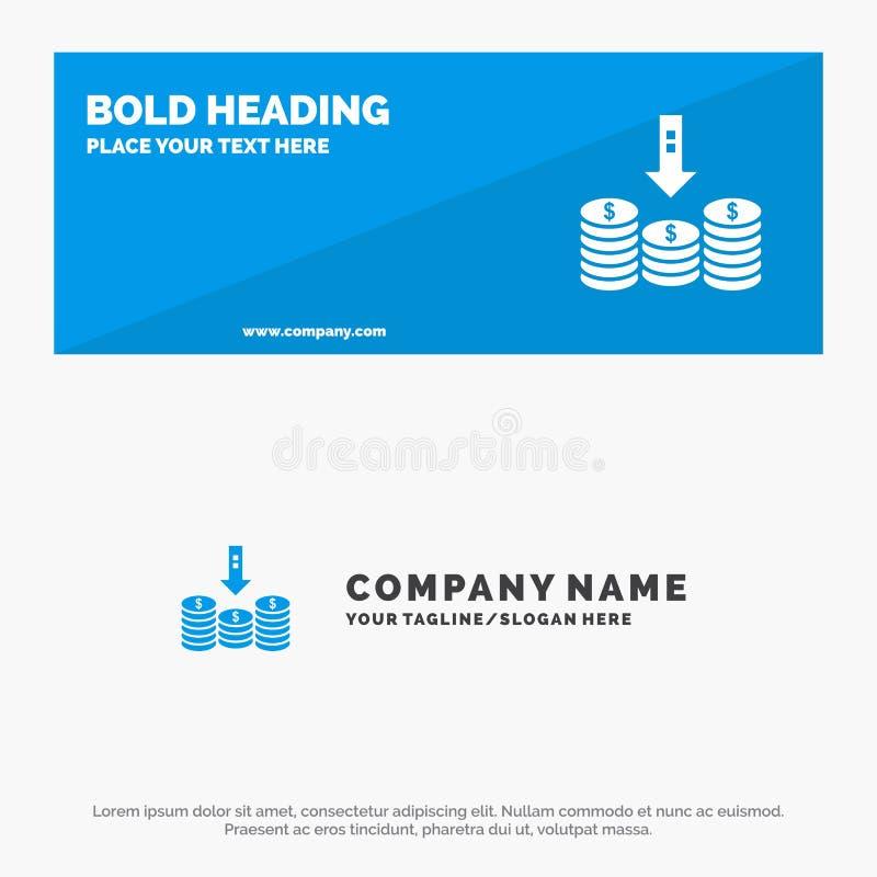 Monedas, efectivo, dinero, plumón, bandera sólida y negocio Logo Template de la página web del icono de la flecha ilustración del vector