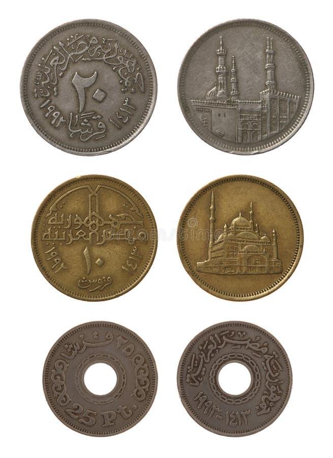 Monedas egipcias aisladas en blanco fotos de archivo libres de regalías