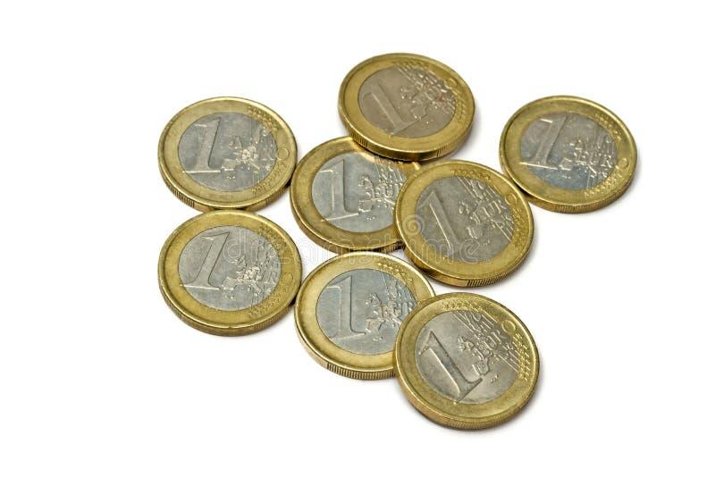 Monedas euro aisladas en blanco fotos de archivo libres de regalías