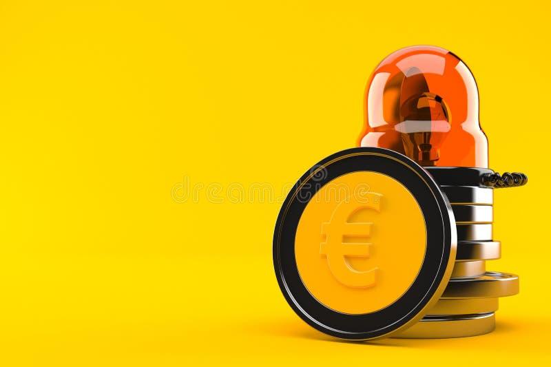 Monedas euro con la sirena de la emergencia ilustración del vector