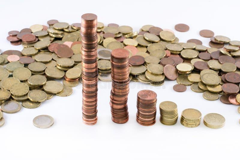 Monedas euro que forman diversos altos cilindros fotos de archivo libres de regalías