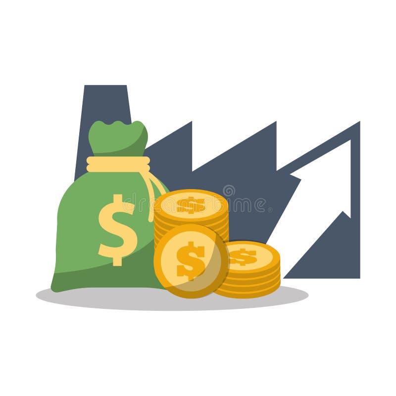 monedas financieras del dinero del bolso del crecimiento del negocio stock de ilustración