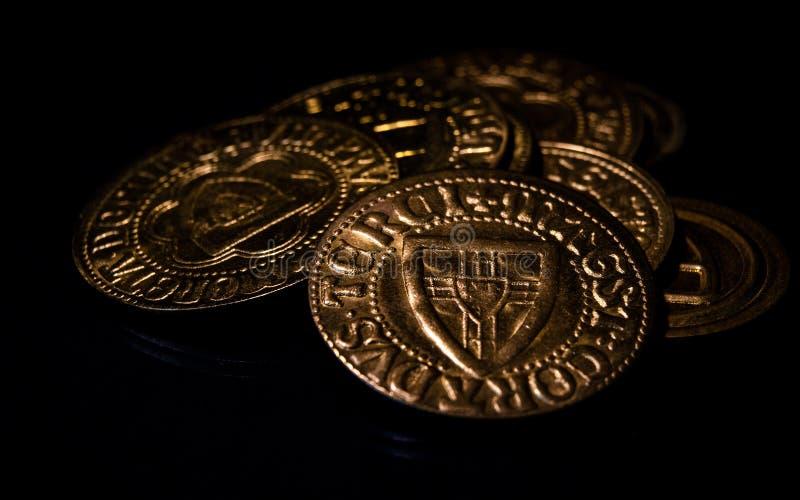Monedas medievales fotografía de archivo