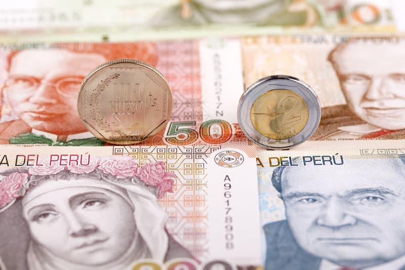 Monedas peruanas del solenoide fotografía de archivo libre de regalías