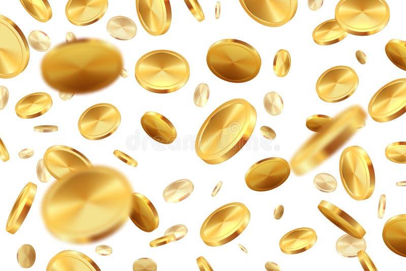 Monedas que caen Concepto afortunado realista del triunfo del casino del dinero 3D del bote de la lluvia de oro del efectivo Ejem ilustración del vector