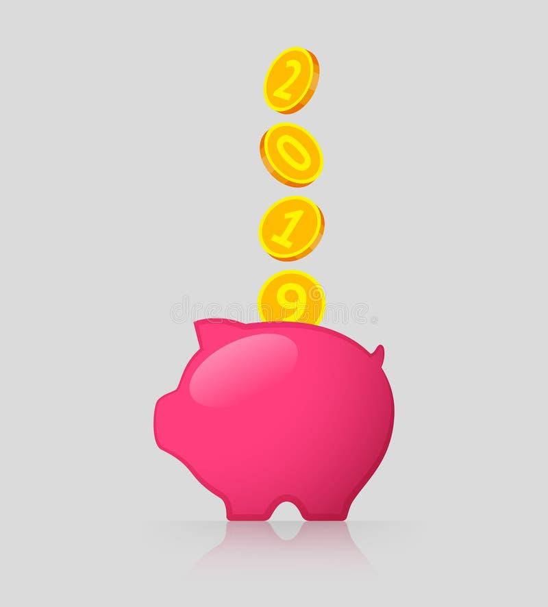 Monedas rosadas de la hucha y de oro con 2019 números ilustración del vector