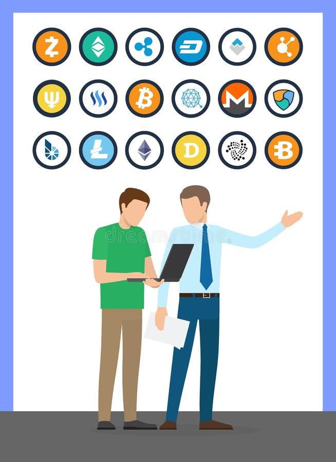 Monedas sistema y trabajadores de Bitcoin del vector libre illustration