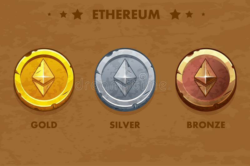 Monedas viejas aisladas del ethereum del oro, de la plata y del bronce Digitaces o cryptocurrency virtual moneda y efectivo elect libre illustration