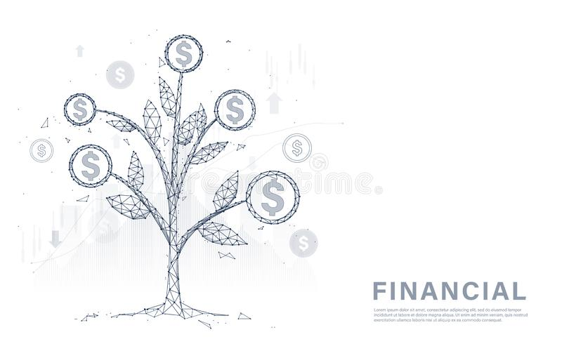 Monedas y dinero del árbol del dinero Gestión financiera, creciendo de fabricación del dinero, y del concepto de la inversión ilustración del vector