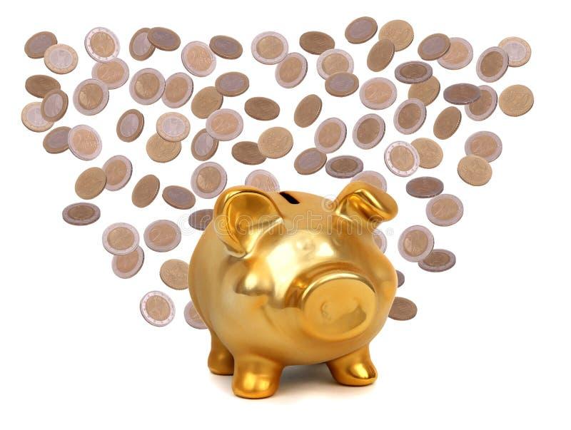 Monedas y piggybank de oro fotografía de archivo libre de regalías
