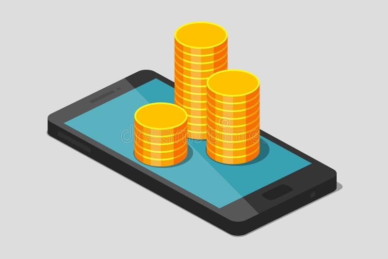 Monedas y teléfono de oro ilustración del vector