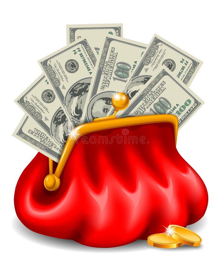 Monedero con el dinero libre illustration