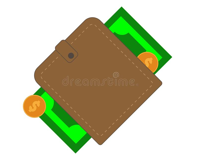 Monedero de Brown con el efectivo y las monedas de papel ilustración del vector