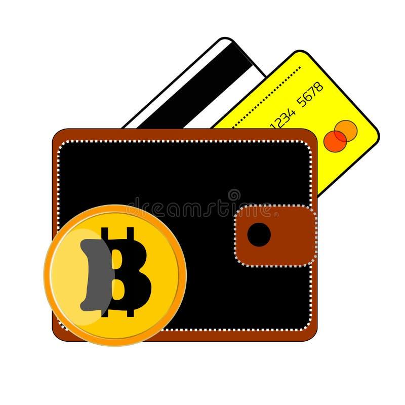 Monedero negro, marrón, cartera, dos tarjetas de crédito, tarjeta de crédito, blanco, moneda amarilla, color oro amarillo ilustración del vector