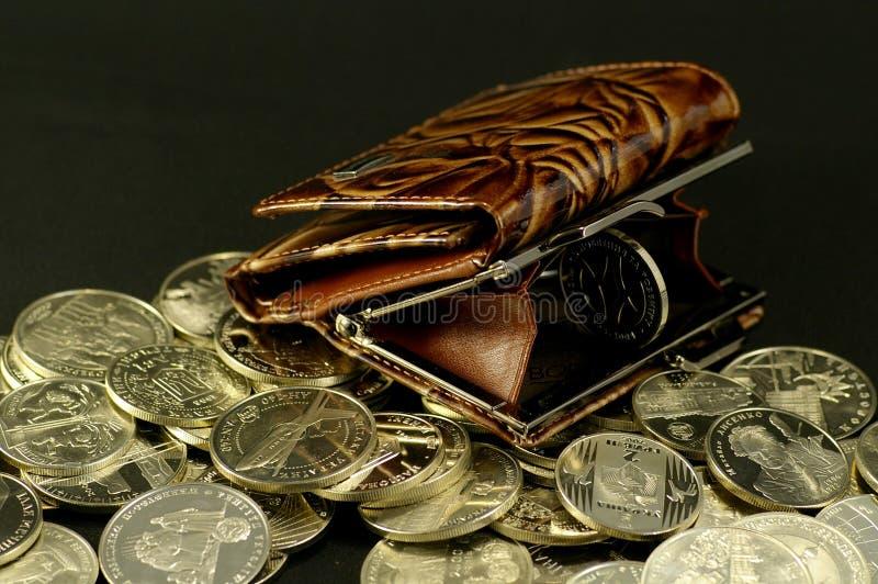 Monedero y la moneda fotografía de archivo libre de regalías