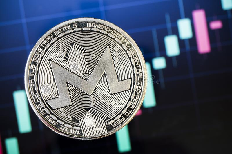 Monero è un modo moderno dello scambio e di questa valuta cripto immagini stock libere da diritti