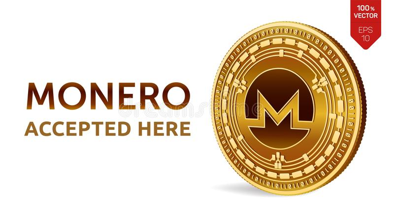 Monero. Accepted sign emblem. Crypto currency. Golden coin with Monero symbol isolated on white background. 3D isometric Physical royalty free illustration