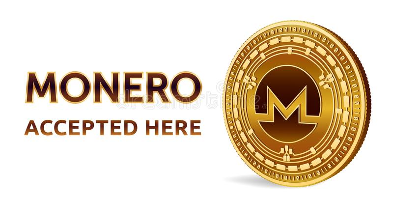Monero. Accepted sign emblem. Crypto currency. Golden coin with Monero symbol isolated on white background. 3D isometric Physical vector illustration