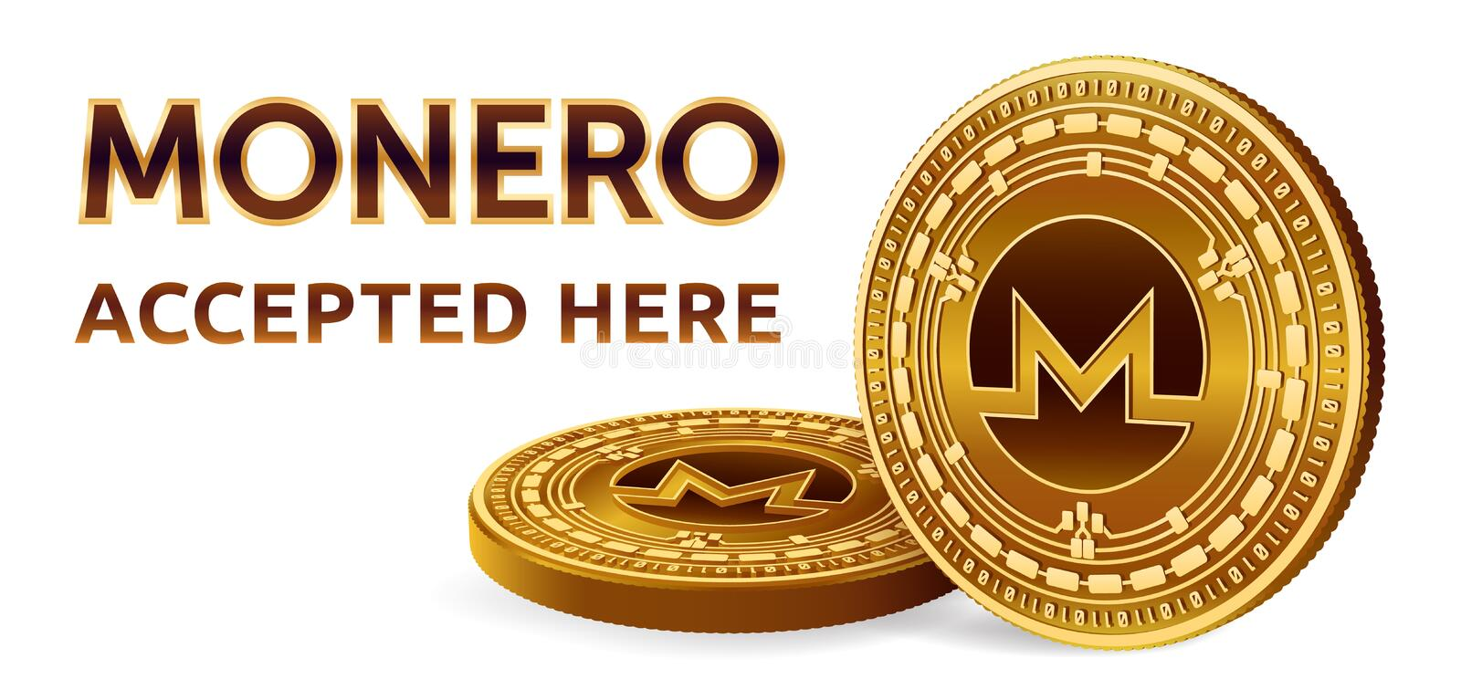 Monero. Accepted sign emblem. Crypto currency. Golden coins with Monero symbol isolated on white background. 3D isometric Physical stock illustration