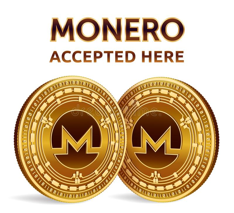 Monero. Accepted sign emblem. Crypto currency. Golden coins with Monero symbol isolated on white background. 3D isometric Physical vector illustration