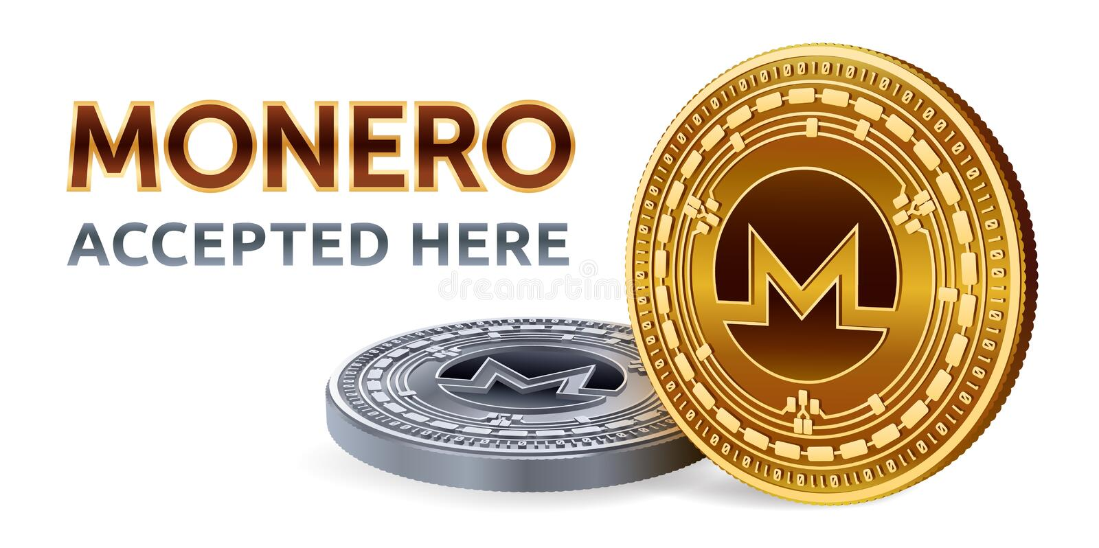Monero. Accepted sign emblem. Crypto currency. Golden and silver coins with Monero symbol isolated on white background. 3D isometr vector illustration