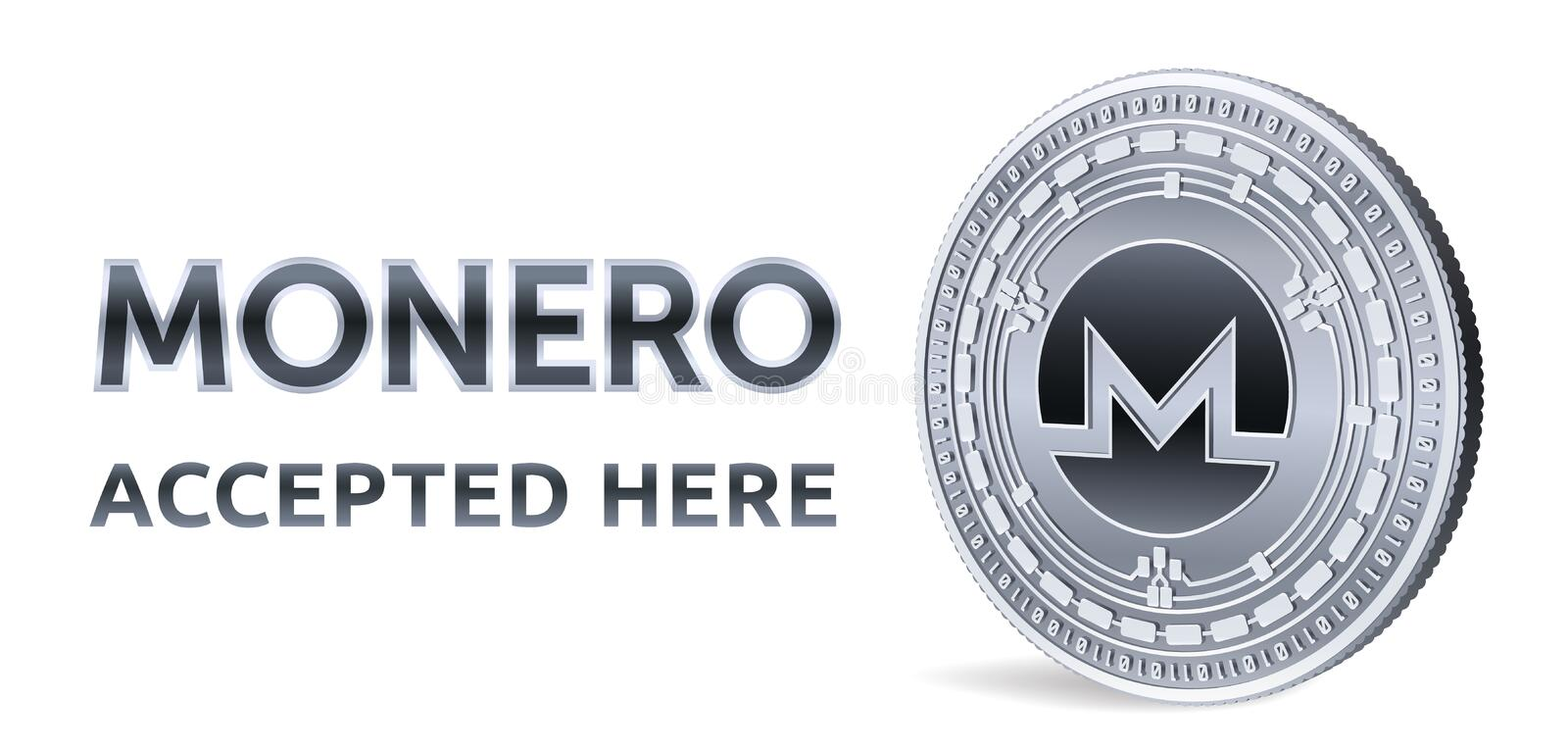 Monero. Accepted sign emblem. Crypto currency. Silver coin with Monero symbol isolated on white background. 3D isometric Physical vector illustration